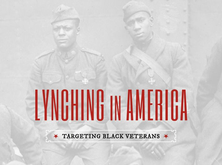 "A screenshot of the title page for ""Lynching in America: Targeting Black Veterans"""