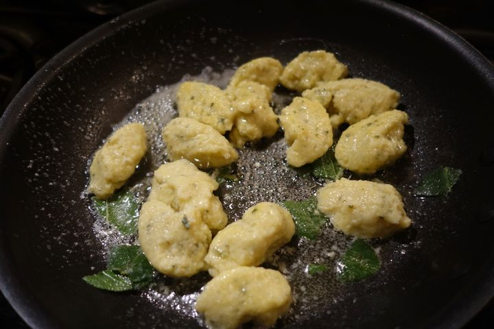 <p>Being tossed in butter and sage after about two and a half minutes of simmering</p>