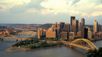 Pennsylvania, Pittsburgh, View Of City Skyline With Monongahela, Allegheny, Ohio Rivers Surrounding. (Photo by: Jeff Greenberg/UIG via Getty Images)