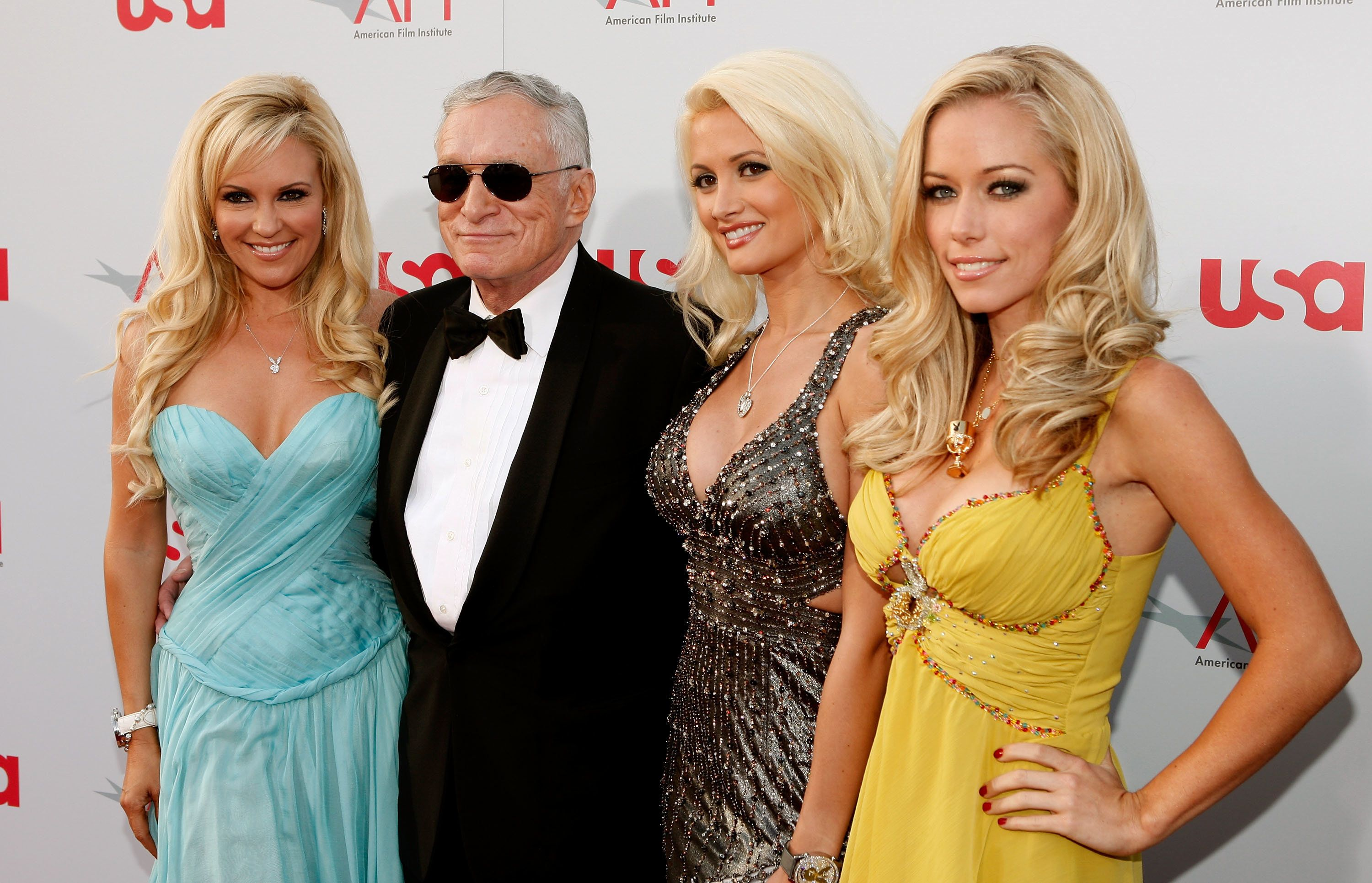 Holly Madison, Hugh Hefner, Bridget Marquardt, and Kendra Wilkinson in 2008.