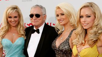 HOLLYWOOD - JUNE 12:  TV personalities Holly Madison, Hugh Hefner, Bridget Marquardt, and Kendra Wilkinson arrive at the 36th AFI Life Achievement Award tribute to Warren Beatty held at the Kodak Theatre on June 12, 2008 in Hollywood, California. The show will air on USA Network at 9PM PST on June 25, 2008.  (Photo by Kevin Winter/Getty Images for AFI)