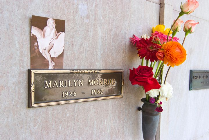 Marylin Monroe's crypt at the Westwood Memorial Park Cemetery. The crypt directly to the left of Marilyn Monroe was purchased