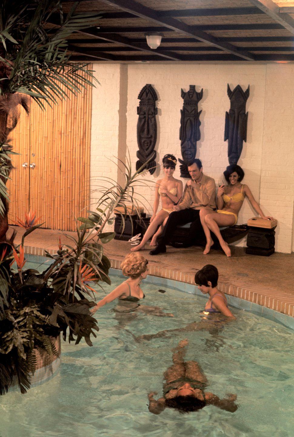 "Burt Glinn, ""Playboy founder, Hugh Hefner, at his mansion."" Chicago, IL., USA, 1966"