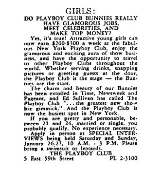 The job listing for the Playboy Club that Gloria Steinem answered in