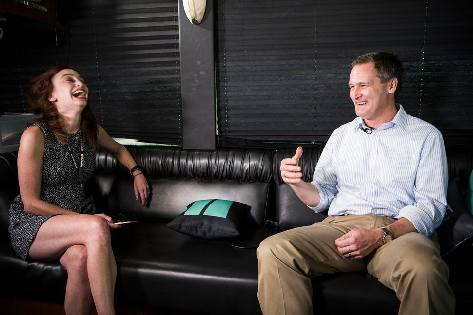 Charlottesville Mayor Michael Signer is interviewed by Lauren Moraski on the HuffPost bus.