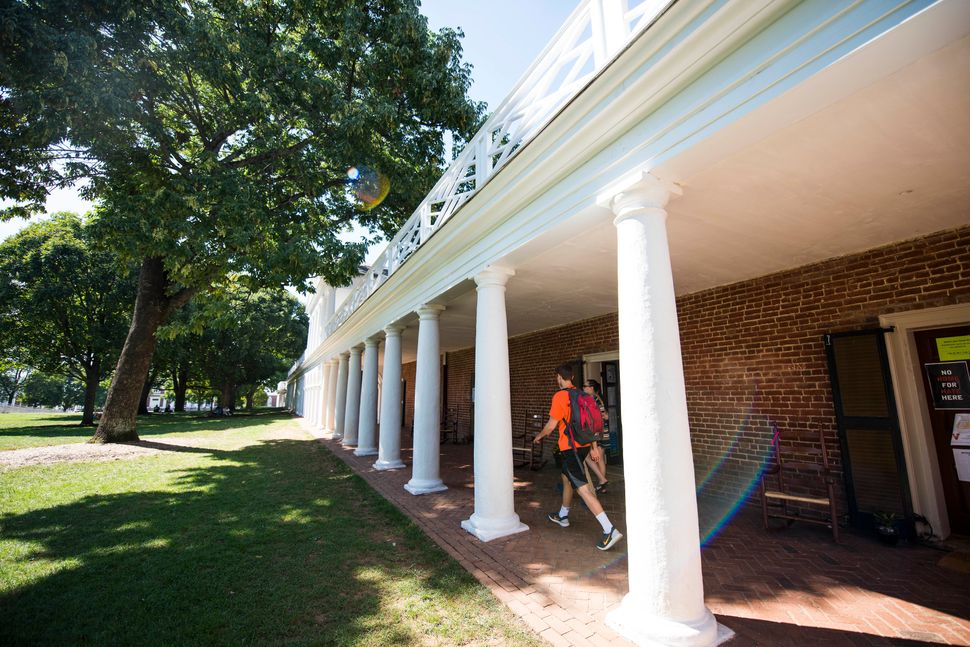 Students walk to class at the University of Virginia.