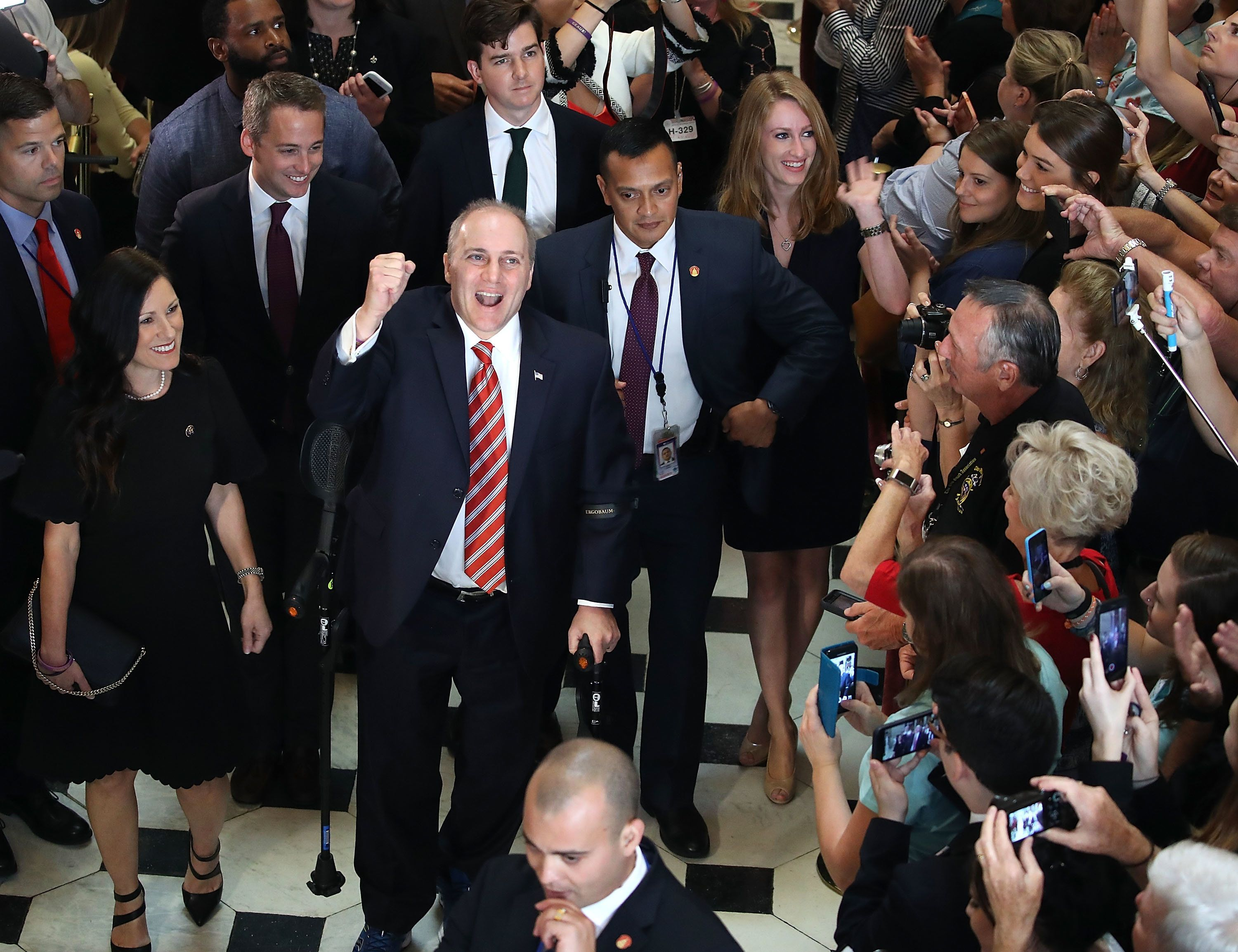 WASHINGTON, DC - SEPTEMBER 28: House Republican Whip Steve Scalise (R-LA) reacts to cheers as he returned to the Capitol Hill for the first time after being shot in June at a congressional baseball team practice in Alexandria Virginia, on September 28, 2017 in Washington, DC. (Photo by Mark Wilson/Getty Images)