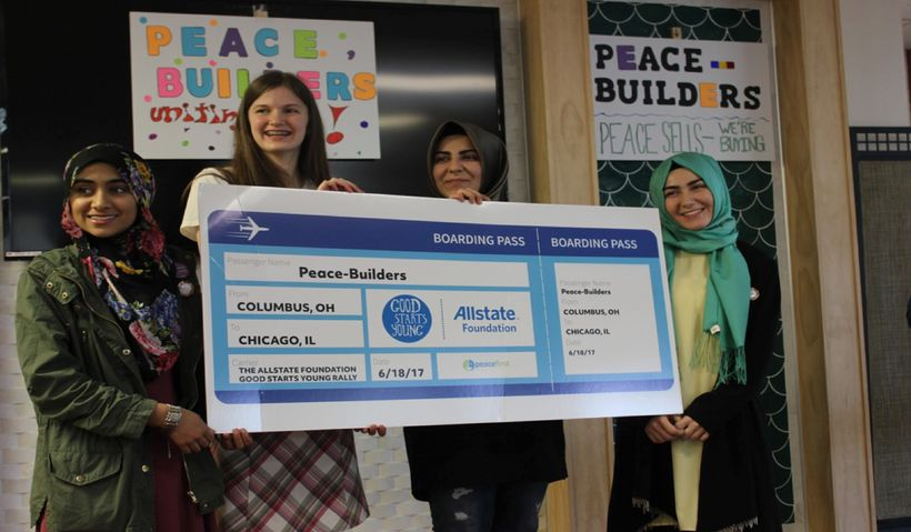 <em>The Peace-Builders team after winning a spot to participate in Peace First Challenge Accelerator, The Allstate Foundation
