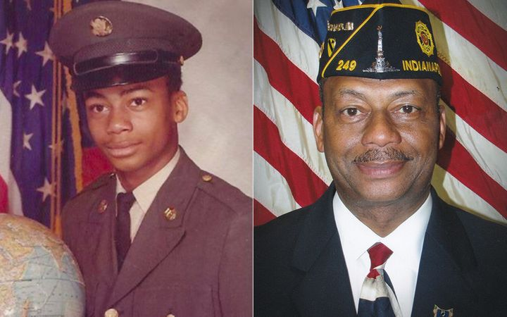 Boatright shown at age 17 in his 1974 U.S. Army portrait (left) and at age 60, in his American Legion portrait (right).