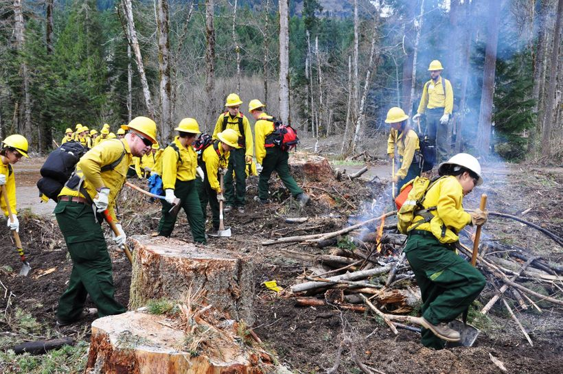 Wilderness firefighting training with Washington Conservation Corps.