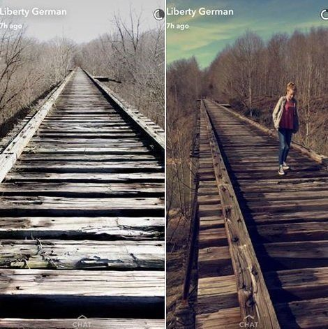It is believed that Liberty German uploaded these two photos to Snapchat prior to the girls' disappearance.
