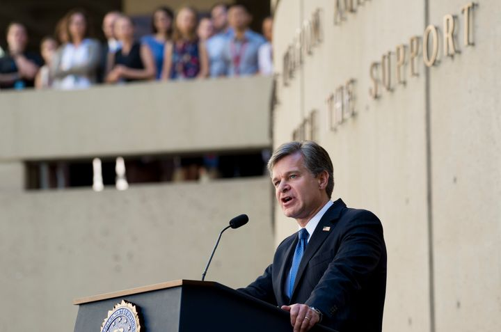 FBI Director Christopher Wray speaks during his swearing-in.