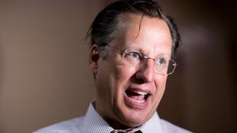 UNITED STATES - MAY 2: Rep. Dave Brat, R-Va., speaks with reporters as he leaves the House Republican Conference meeting in the Capitol on Tuesday, May 2, 2017. (Photo By Bill Clark/CQ Roll Call)