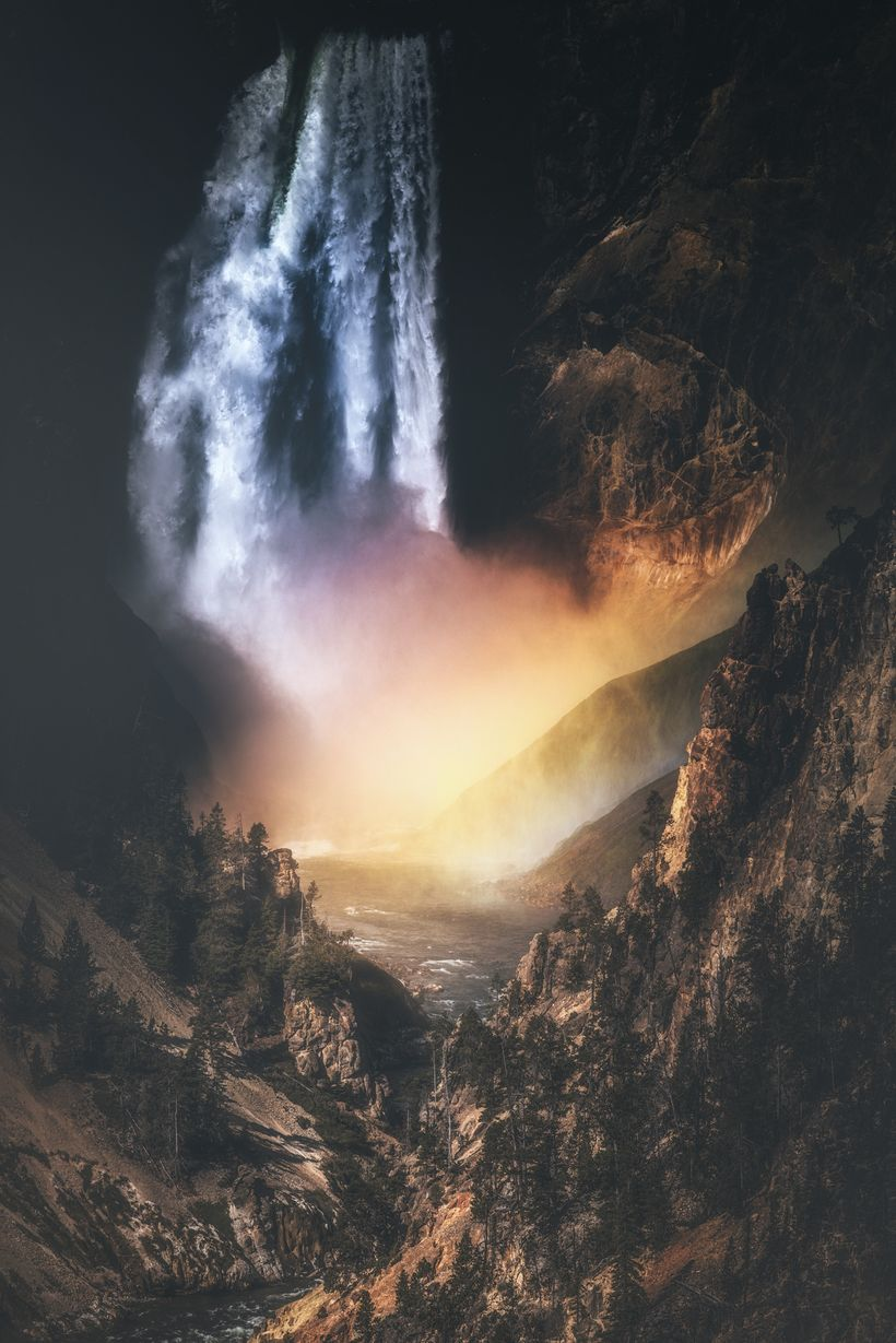 Lower Yellowstone Falls and the Morning Rainbow.