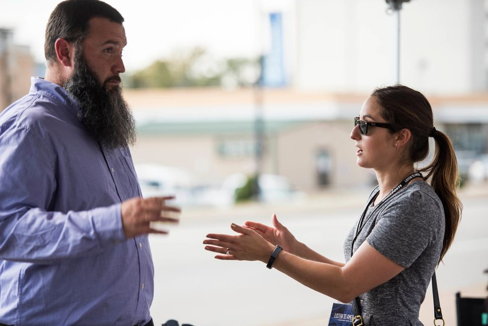Paige Lavender talks to Chris Kessell at the HuffPost activation site.
