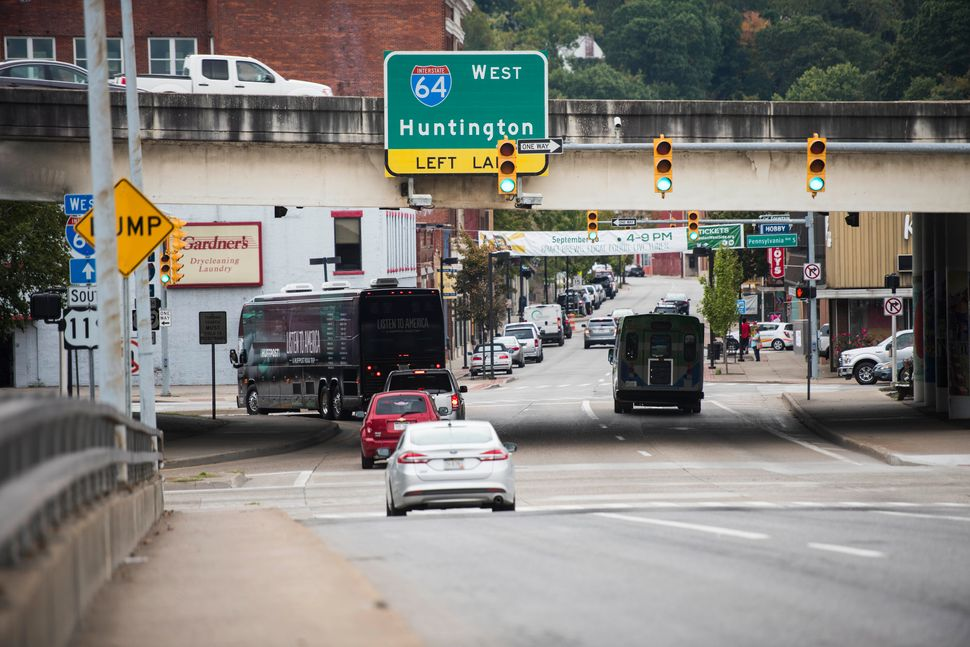 The HuffPost bus on the road in Charleston, West Virginia.