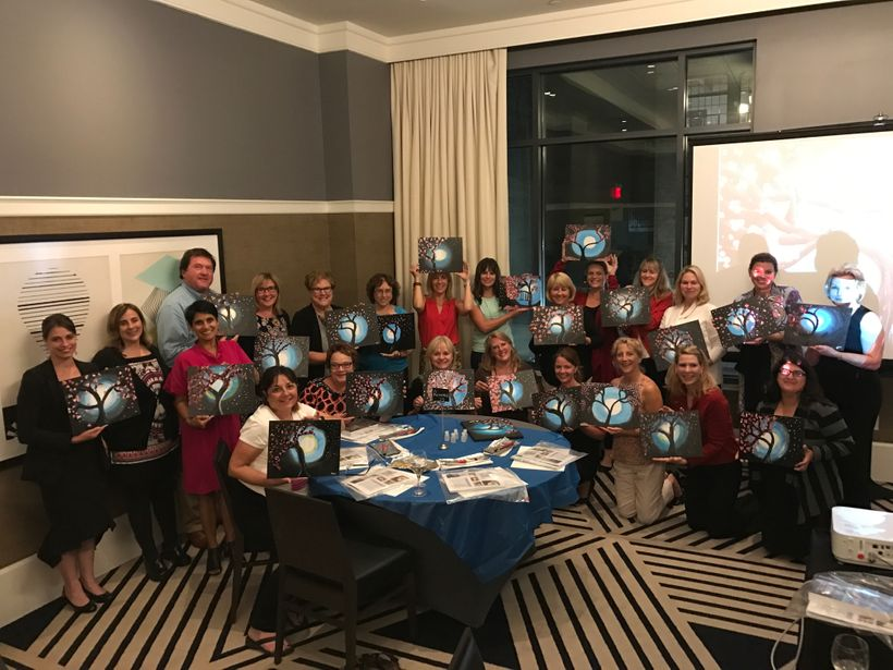 The First Spouses also had an evening of guided mindful relaxation where they created paintings as an exercise of art express