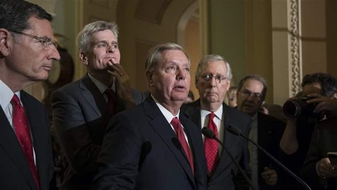 U.S. Sen. Lindsey Graham, a South Carolina Republican, was joined by other GOP senators as he talked to reporters this week.