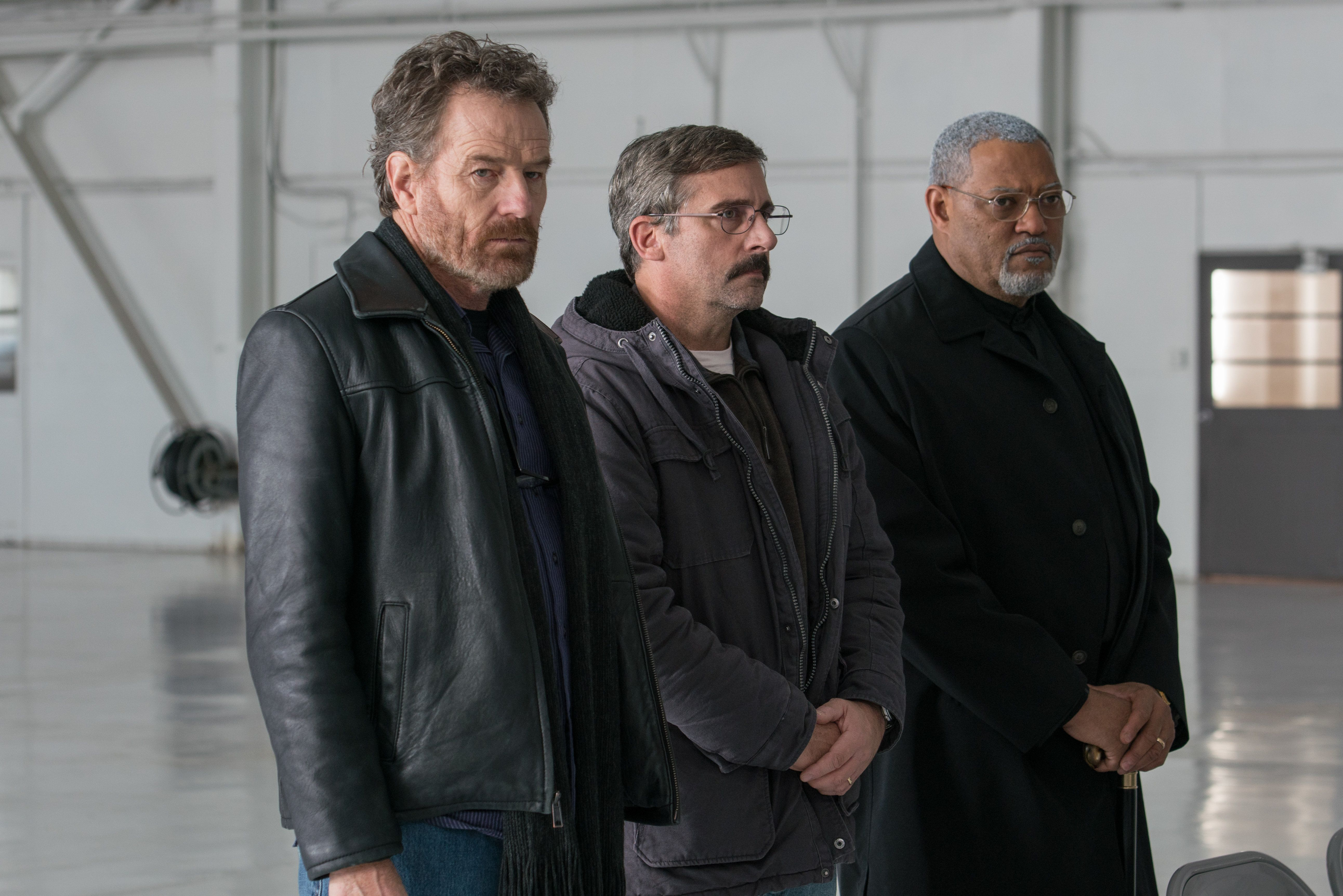 "From L to R: Bryan Cranston as ""Sal,"" Steve Carrell as ""Doc,"" and Laurence Fishburne as ""Mueller"" in LAST FLAG FLYING. Photo by Wilson Webb."