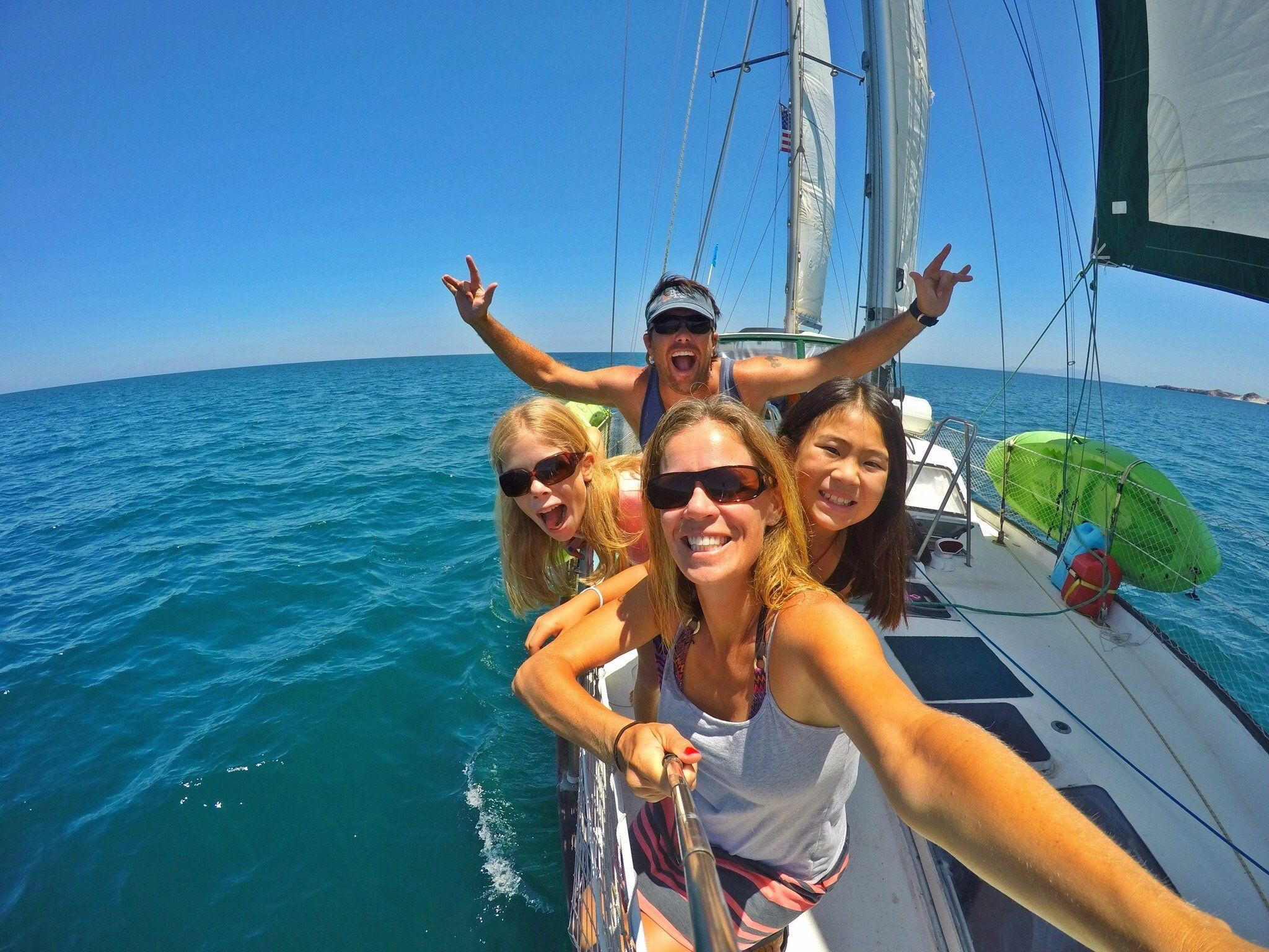 The Nance family is sailing around the world ina 45-foot boat.