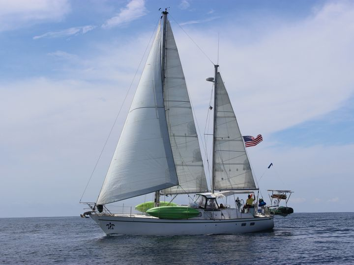 Their boat is a 1978 45-foot Dufour ketch sailboat called SV Terrapin (SV stands for sailing vessel, and a terrapin is a species of turtle).