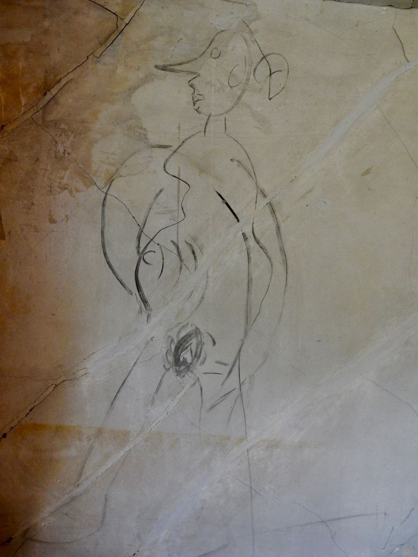 Naked woman Civil War graffiti, Historic Blenheim, Fairfax VA