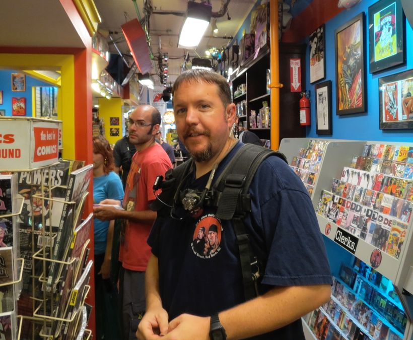 Tom Mumme on the set of Comic Book Men