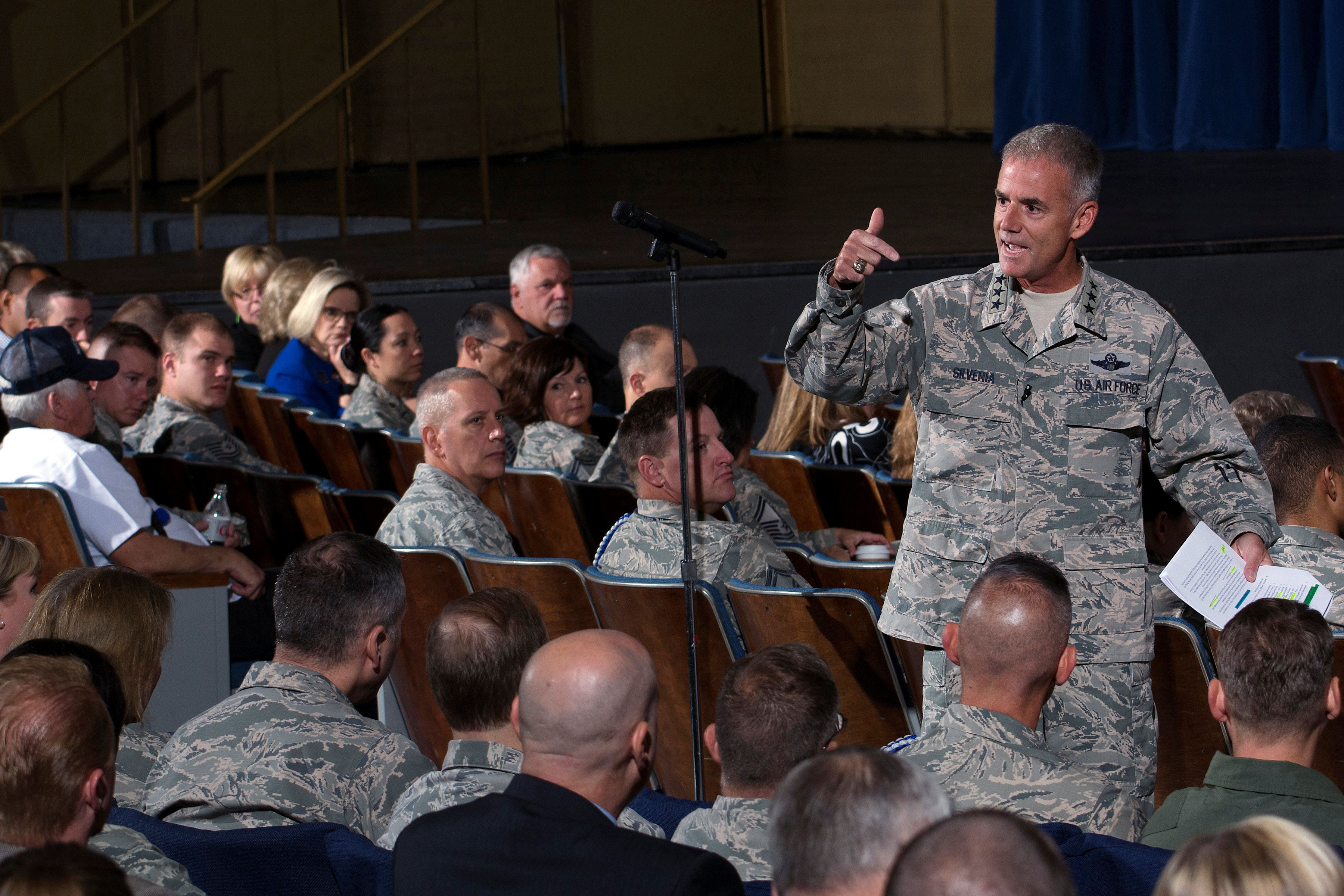 Lt. Gen. Jay Silveria, superintendent of the U.S. Air Force Academy, discusses his goals and priorities to an audience of Total Force Airmen at the United States Air Force Academy in Colorado, U.S. on August 17, 2017.   Courtesy Mike Kaplan/U.S. Air Force/Handout via REUTERS   ATTENTION EDITORS - THIS IMAGE HAS BEEN SUPPLIED BY A THIRD PARTY.