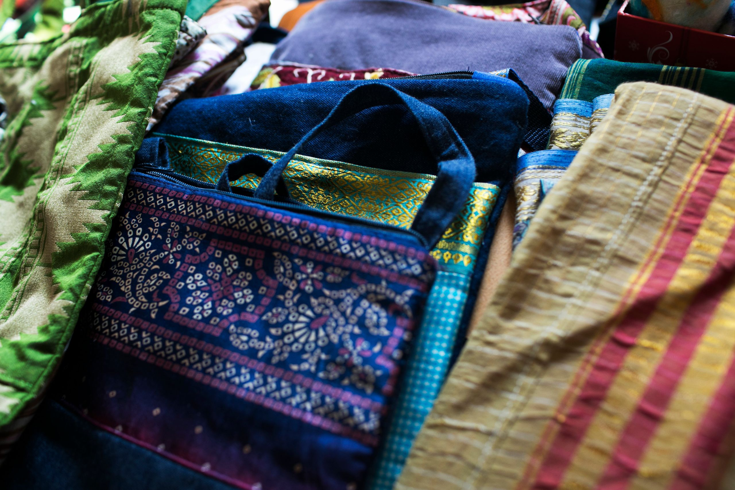 Colorful textiles are sold at The Exchange House in Akron, Ohio.