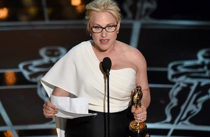 "Patricia Arquette accepts the ""Best Supporting Actress"" Oscar at the 2015 Academy Awards."