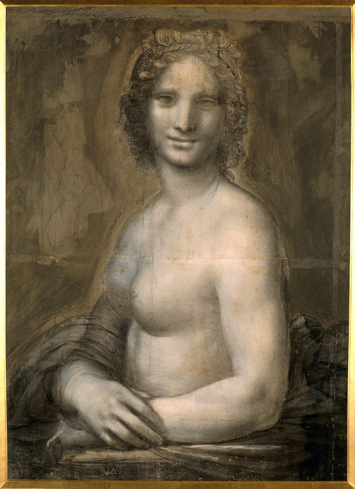 "Leonardo da Vinci (1452-1519), Italian school. Nude woman. Study for the ""Mona Lisa."" Pencil on brown paper, 0.72 x 0.54 m. C"