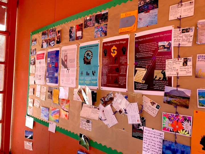 "Supportive postcards from neighbors and ""Know Your Rights"" posters line the hallways at Oakland International High"