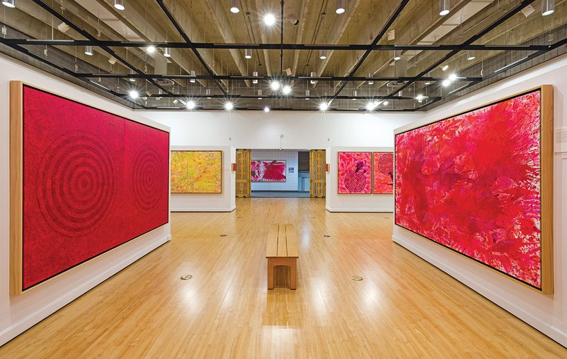 "Installation, J. Steven Manolis, ""Painting Vermillion Red"" exhibition, John A. Day Gallery at the Warren M. Lee Center for th"