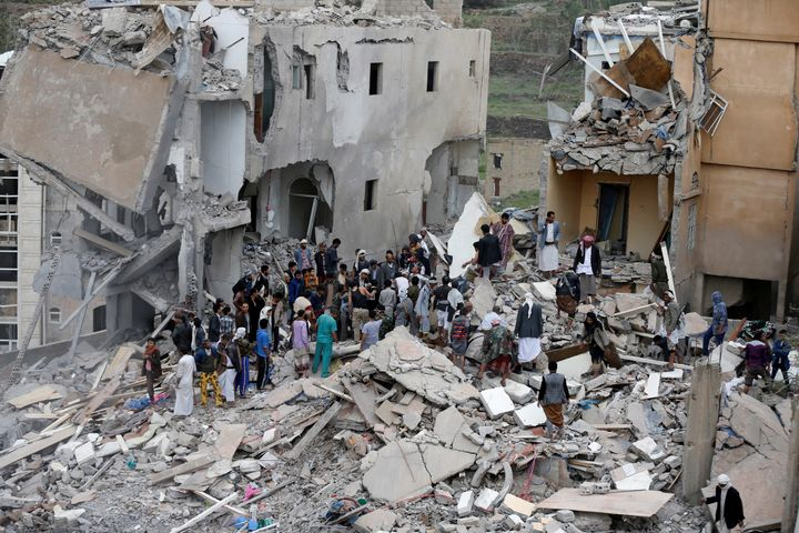 The remains of a house targeted by a Saudi-UAE coalition airstrike.