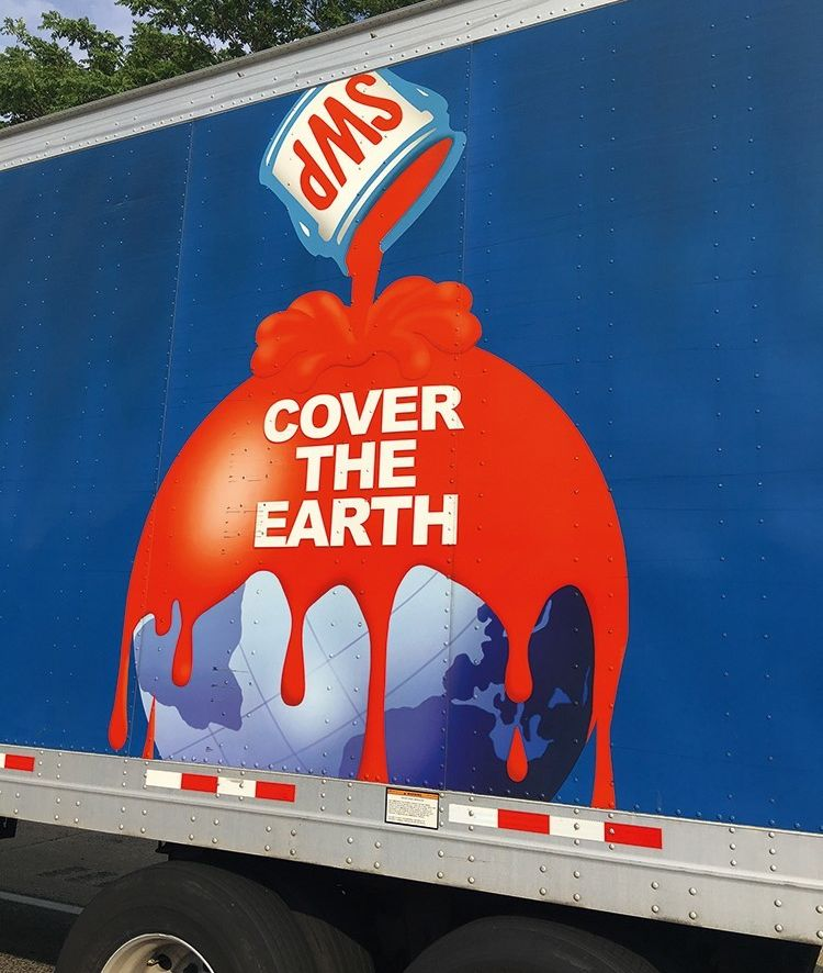 This classic graphic logo on the side of a speeding Sherwin-Williams paint delivery truck, carries an appropriate image for c
