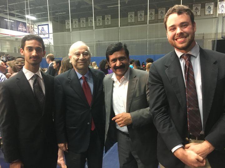 Malala's father, Ziauddin Yousafzai (center-right), gathers with Ambassador Ahmed (center-left), Ambassador Ahmed's Chief of