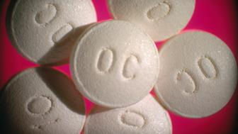 10 mg OxyContin (oxycodone HCI) controlled-release tablet. A morphine-like pain killer, widely abused as a recreational drug.