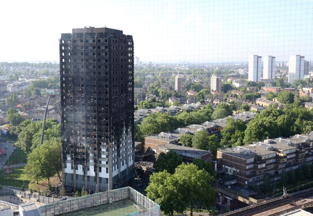 Grenfell Tower in the wake of the June 14
