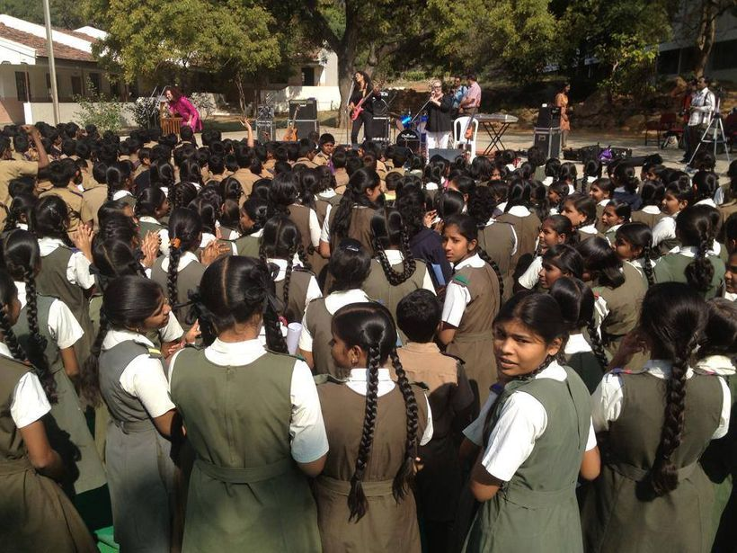 School girls watch The BETTY Effect concert in Begumpet, India