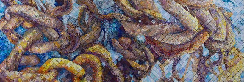 Sharon Kagan, <em>The Untangling: Rebirth </em>(2017), mixed media, 36 x 106 inches