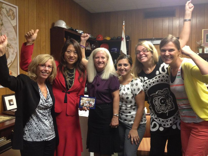 August 21, 2012 - Board Member Fiona Ma, then Assembly Speaker Pro Tempore, with Brenda Clubine and other supporters of the ""