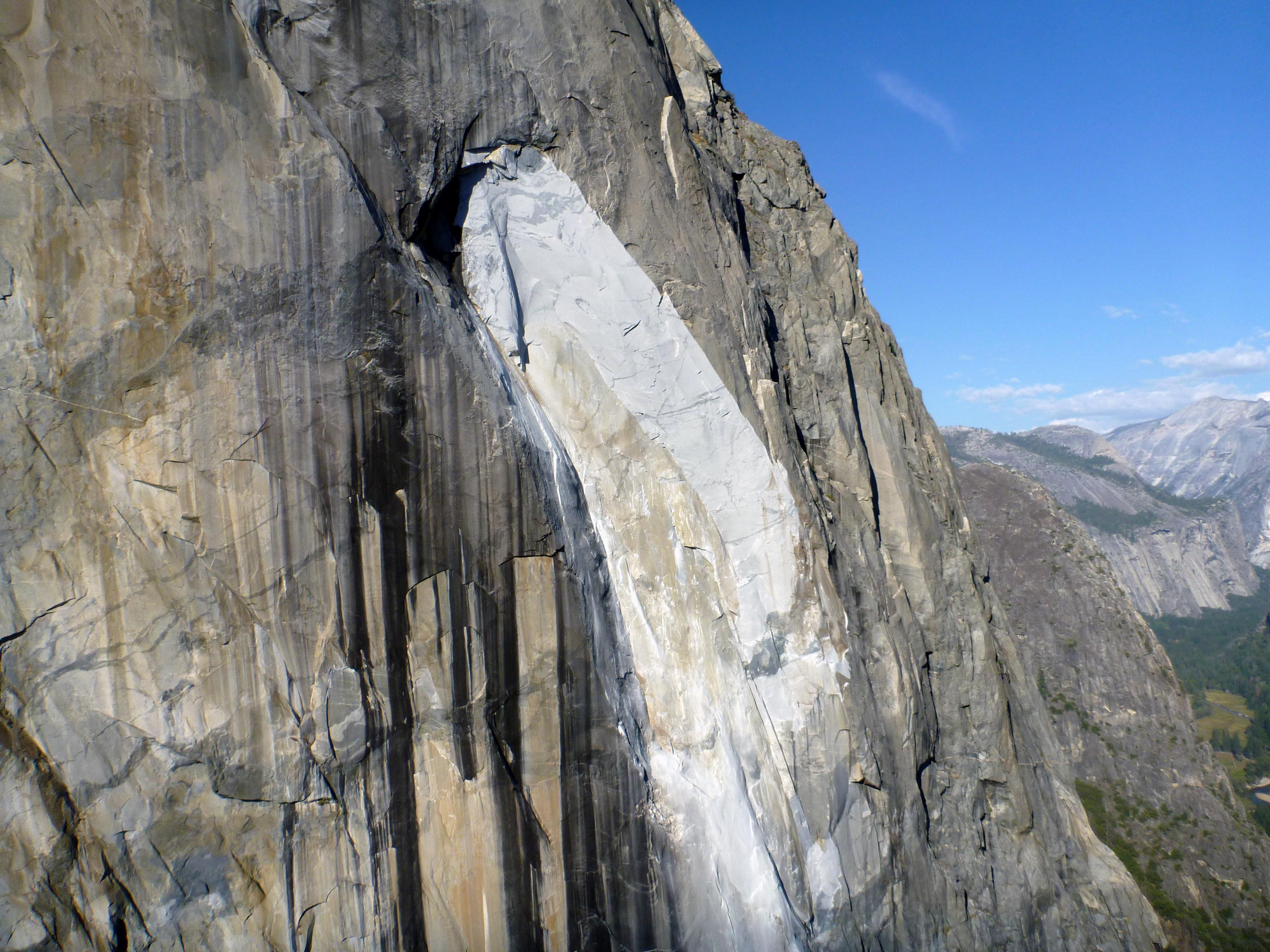 The southeast face of El Capitan granite monolith in Yosemite National Park is seen after another rockfall injured a second person a day after a British climber was killed by a rockfall at Yosemite National Park in California, U.S, September 28, 2017.    Courtesy National Park Service/Handout via REUTERS  ATTENTION EDITORS - THIS IMAGE HAS BEEN SUPPLIED BY A THIRD PARTY