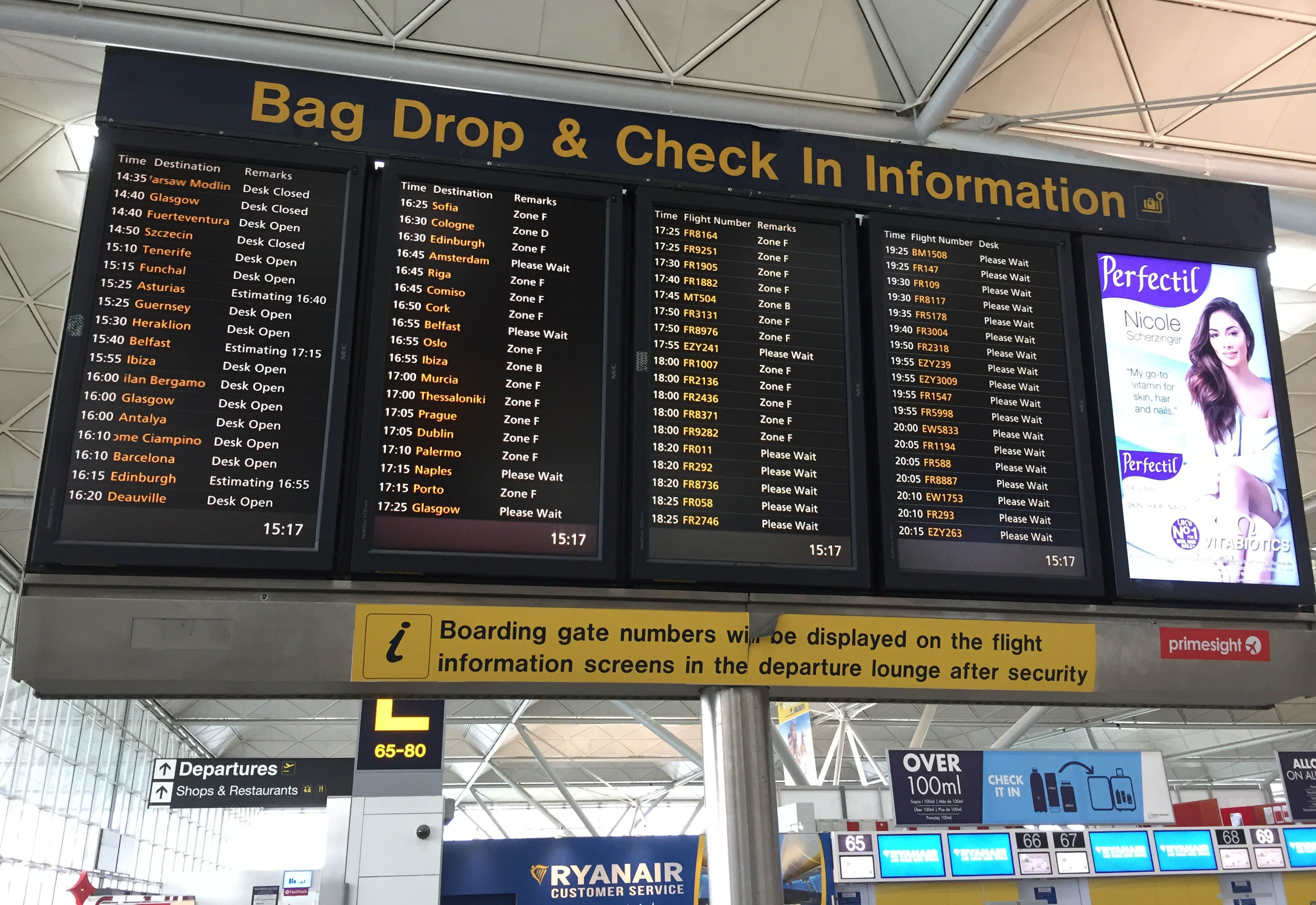 PA Wire  PA Images A flight information display with Ryanair flights coded'FR at London Stansted Airport