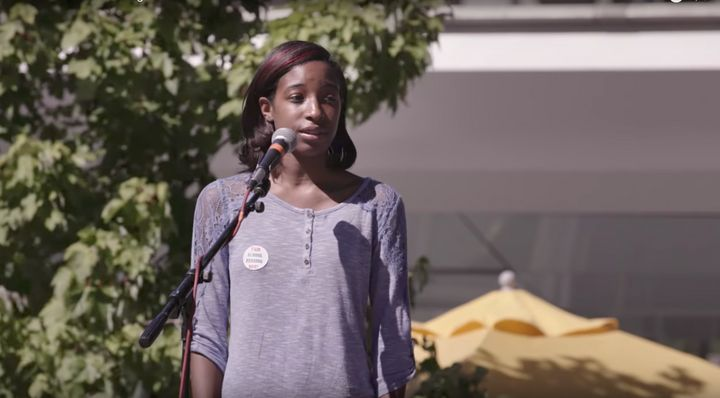 Jameira Miller, a 12th grader in the William Penn School District in Pennsylvania, advocates for school funding equality.