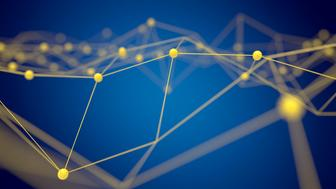 Fintech technology and Blockchain network concept , Distributed ledger technology , Yellow Distributed connection atom and text with blue background , 3d rendering