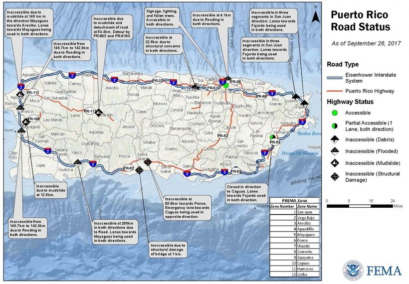 A map showing the status of roads in Puerto Rico as of September 28, 2017.