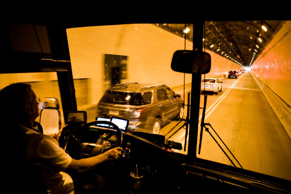 Bobby Jansen drives the HuffPost tour bus into Pittsburgh on Thursday night.