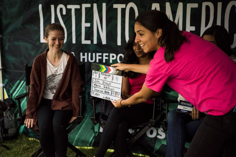 Sarah Grossman slates a video interview with Julia Driscoll, Meera Sakthiuel and Jasmine Pabla.