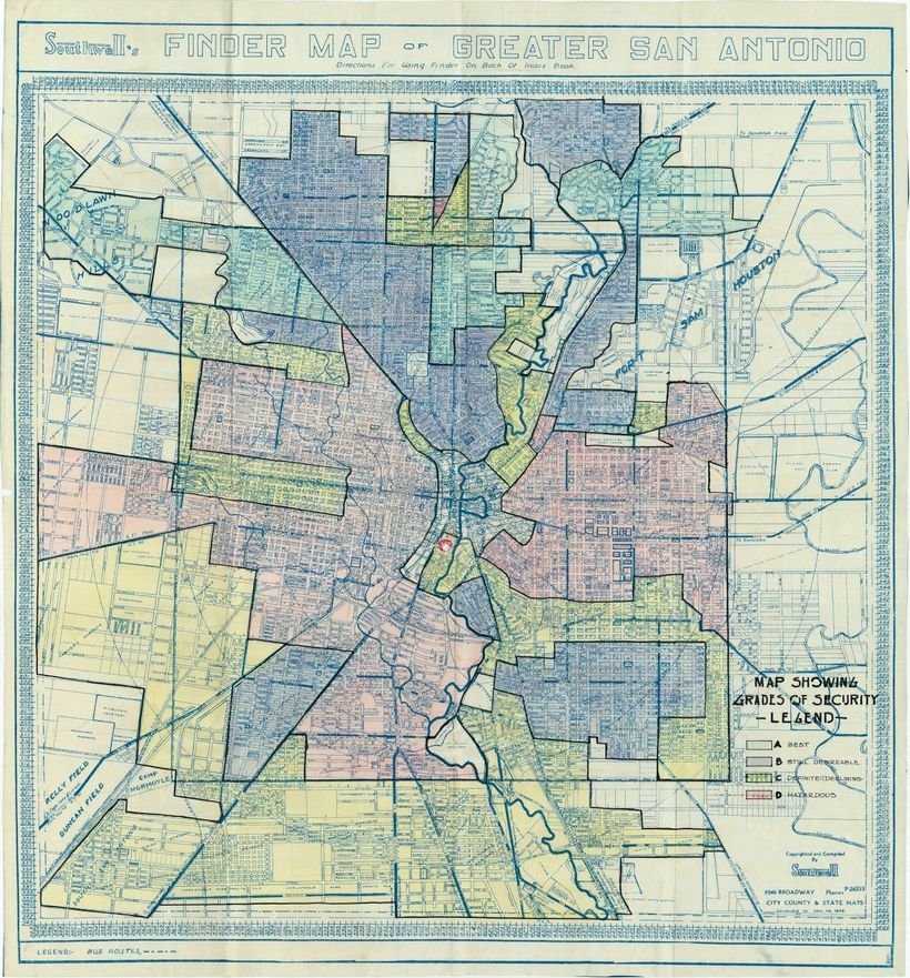"A hand-colored map from the 1930s shows ""red-lining"" of San Antonio's near downtown area for real estate investment purposes."
