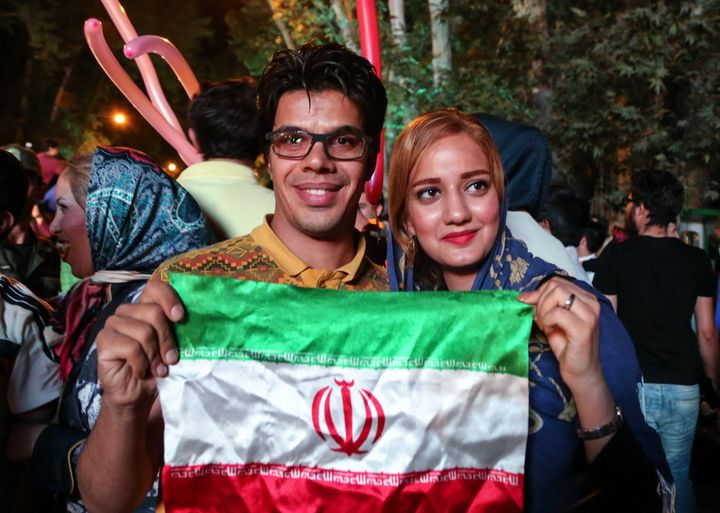 Iranians celebrate the nuclear agreement between Iran and the P5+1 world powers on July 14, 2015 in Tehran, Iran.